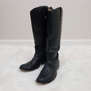 Frye Extended Calf Leather Riding Boots Black